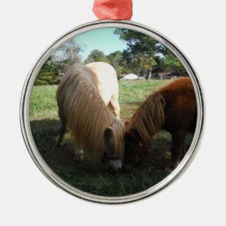 """ブロンドブラウン""""ミニチュア馬"""" 2頭の小さい子馬 メタルオーナメント"""