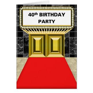 ブロードウェイの玄関ひさしの丁重な第40誕生会 カード