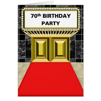 ブロードウェイの玄関ひさしの丁重な第70誕生会 カード
