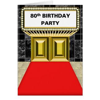 ブロードウェイの玄関ひさしの丁重な第80誕生会 カード