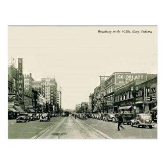ブロードウェイの30年代ギャリー、インディアナ ポストカード