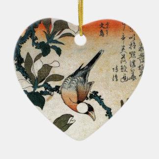 ブンチョウおよびKobushiのマグノリア(Hokusai著) セラミックオーナメント