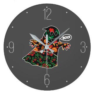 ブーイングハロウィンを用いるかわいい色の花の幽霊 ラージ壁時計