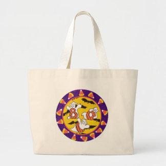 ブーイング! キャンデートウモロコシを持つ幽霊 ラージトートバッグ
