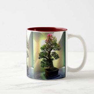 ブーゲンビリアの盆栽の木 ツートーンマグカップ