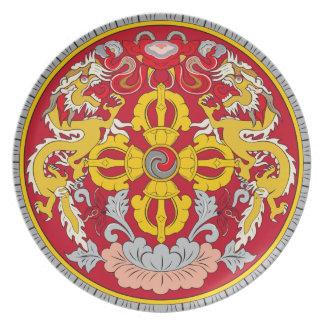 ブータンのドラゴンの紋章のプレート プレート
