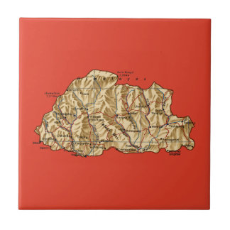 ブータンの地図のタイル タイル