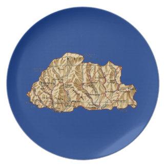 ブータンの地図のプレート プレート