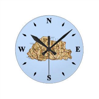 ブータンの地図の時計 ラウンド壁時計