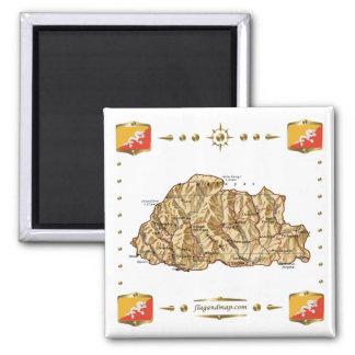 ブータンの地図 + 旗の磁石 マグネット