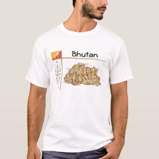 ブータンの地図 + 旗 + タイトルのTシャツ Tシャツ