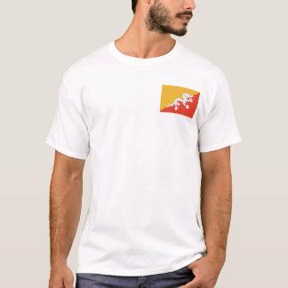 ブータンの旗および地図のTシャツ Tシャツ