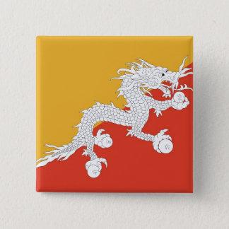 ブータンの旗が付いているボタン 5.1CM 正方形バッジ