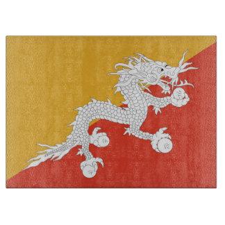 ブータンの旗を持つガラスまな板 カッティングボード