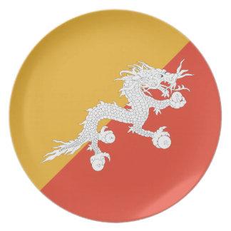 ブータンの旗 プレート