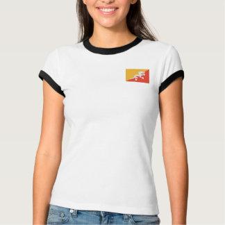 ブータンの旗 + 地図のTシャツ Tシャツ