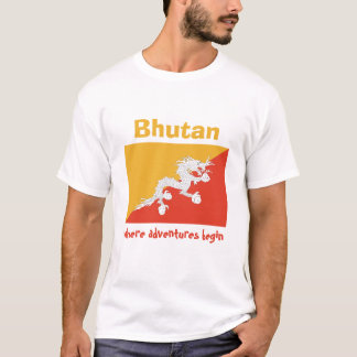 ブータンの旗 + 地図 + 文字のTシャツ Tシャツ