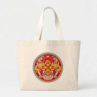 ブータンの紋章付き外衣 ラージトートバッグ