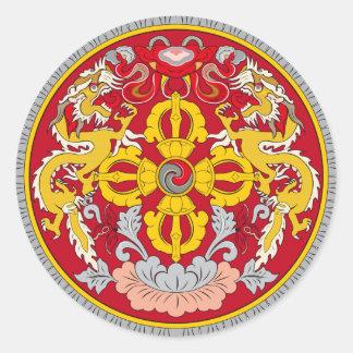 ブータンの紋章。 ドラゴンのモチーフ ラウンドシール
