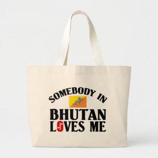 ブータンの誰かは私を愛します ラージトートバッグ