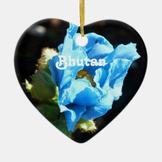 ブータンの青ケシ 陶器製ハート型オーナメント