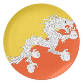 ブータン- ཧྥの་のརནの་のསの་のཀྱིの་のདརの་のཆ -の旗ཧྥの་のརནの་のསの་の プレート