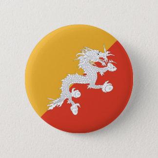 ブータンFisheyeの旗ボタン 5.7cm 丸型バッジ