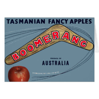 ブーメランのりんご-ヴィンテージのフルーツの木枠のラベル カード