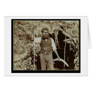 ブーメランを持つ土人、c.1860s (セピア色の写真) カード