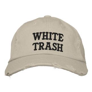 プアホワイトの刺繍された帽子 刺繍入りキャップ