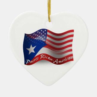 プエルトのRicanアメリカの振る旗 セラミックオーナメント