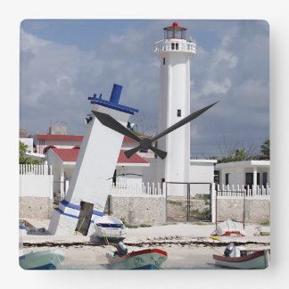 プエルトモレロス州の灯台 スクエア壁時計