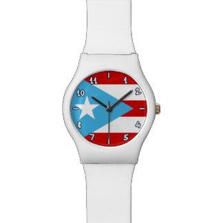 プエルトリコのお洒落な旗: スカイブルー リストウオッチ