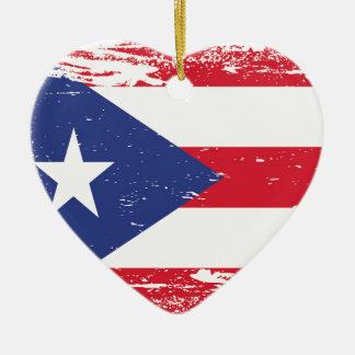 プエルトリコのグランジな旗 セラミックオーナメント