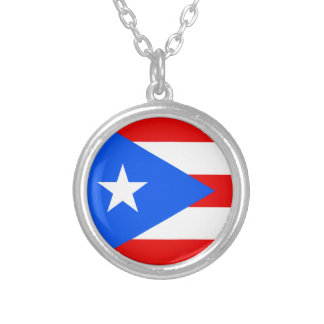 プエルトリコのネックレスの旗 シルバープレートネックレス