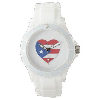 プエルトリコのハートの旗の腕時計 腕時計