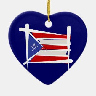 プエルトリコのブラシの旗 セラミックオーナメント