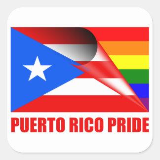 プエルトリコのプライドLGBTの虹の旗 スクエアシール