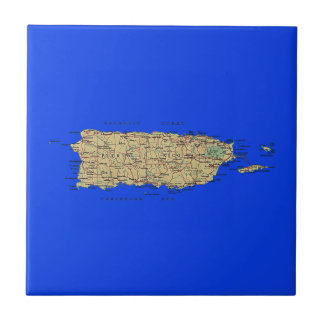 プエルトリコの地図のタイル タイル