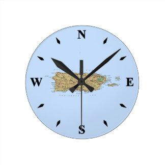 プエルトリコの地図の時計 ラウンド壁時計