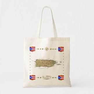 プエルトリコの地図 + 旗のバッグ トートバッグ