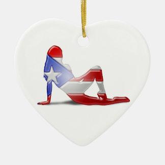 プエルトリコの女の子のシルエットの旗 セラミックオーナメント