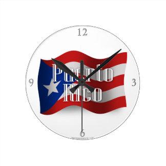 プエルトリコの振る旗 ラウンド壁時計