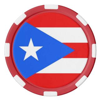 プエルトリコの旗が付いているポーカー用のチップ カジノチップ