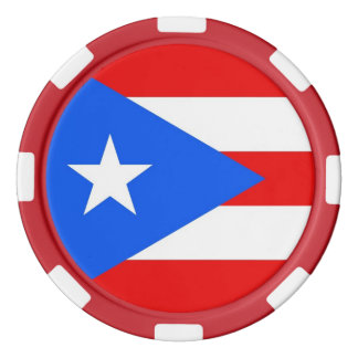 プエルトリコの旗が付いているポーカー用のチップ ポーカーチップ