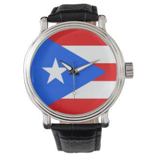 プエルトリコの旗が付いている愛国心が強い腕時計 ウオッチ