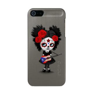 プエルトリコの旗のギターを演奏している砂糖のスカルの女の子 メタリックiPhone SE/5/5sケース