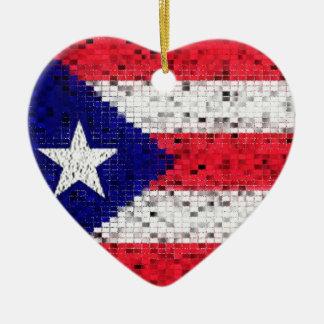プエルトリコの旗のグリッターのオーナメント セラミックオーナメント