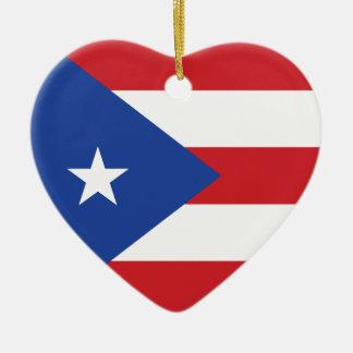 プエルトリコの旗のハートのオーナメント セラミックオーナメント