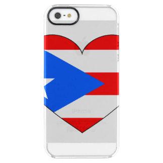 プエルトリコの旗のハート クリア iPhone SE/5/5sケース